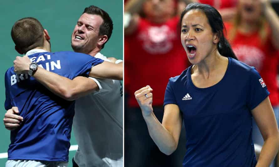 Team GB's captain Leon Smith celebrates Davis Cup success with Dan Evans (left) while Anne Keothavong captains the GB women's Billie Jean Cup team.