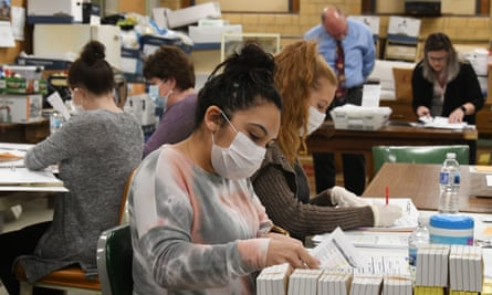 Ballots cast in Racine, Wisconsin are tabulated on Monday.