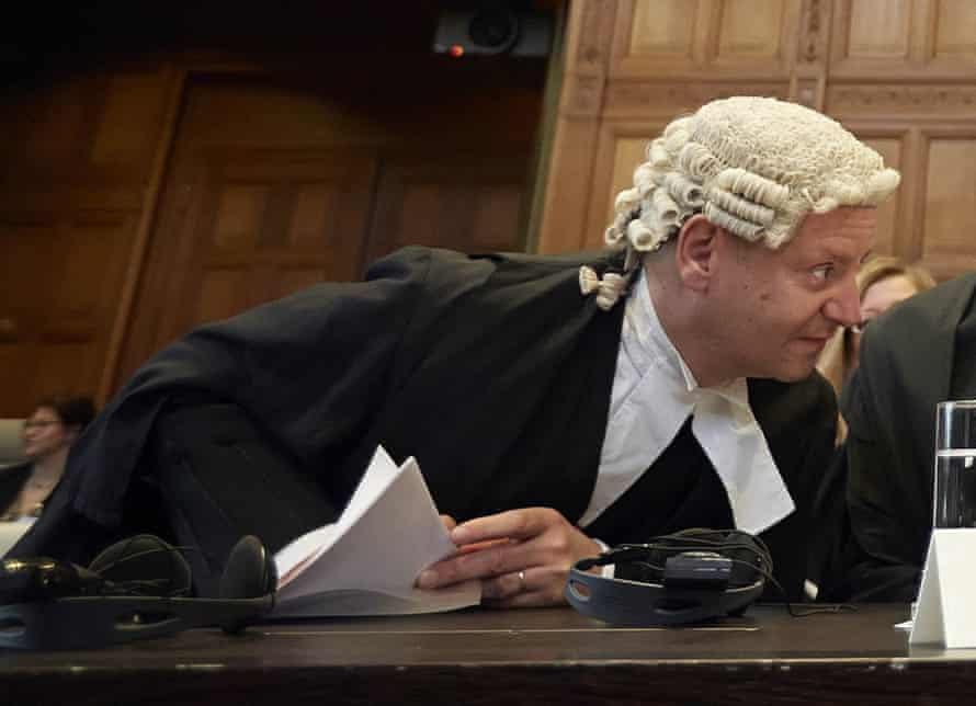 Human rights in action … Philippe Sands at the International Court of Justice in The Hague, Netherlands.