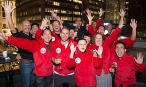 Delegates celebrate the success of Hong Kong in winning the bid to host the 2022 Gay Games.