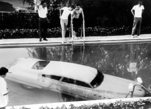 A submerged car 'parked' by its drunken owner in a pool in Beverly Hills, California, in 1961