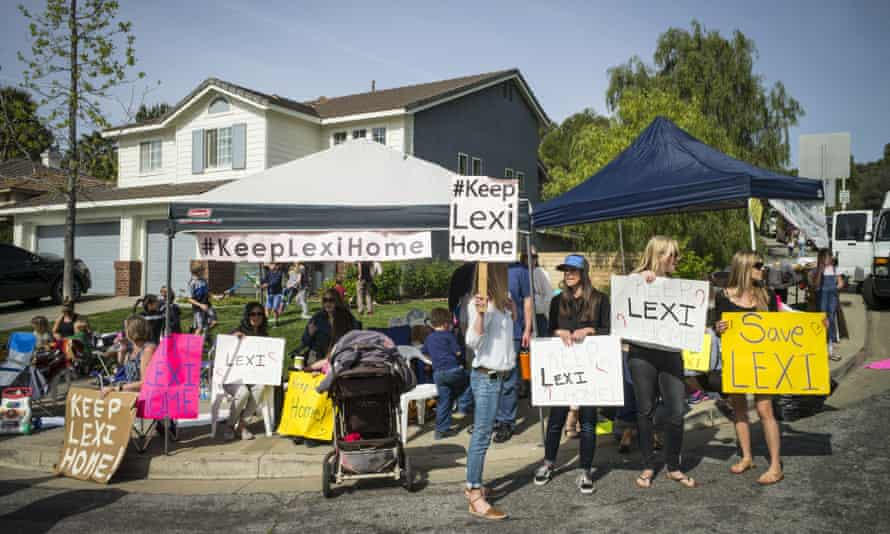 Supporters of Lexi's foster family hold a rally for the family outside her foster home in Santa Clarita, California, on Monday.