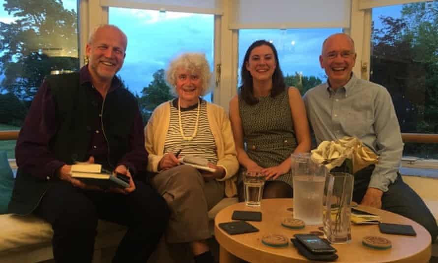 Justin Marozzi (left) Rory MacLean (right) with Jan Morris (second left) in 2016.