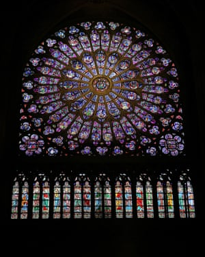 There are reports that the North Rose stained glass window at Notre Dame cathedral in Paris has survived.