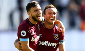 Robert Snodgrass and Mark Noble of West Ham United celebrate following the Hammers' win.