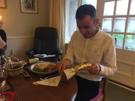 Helen Pidd's Syrian lodger Yasser at his first Christmas lunch with Helen's family