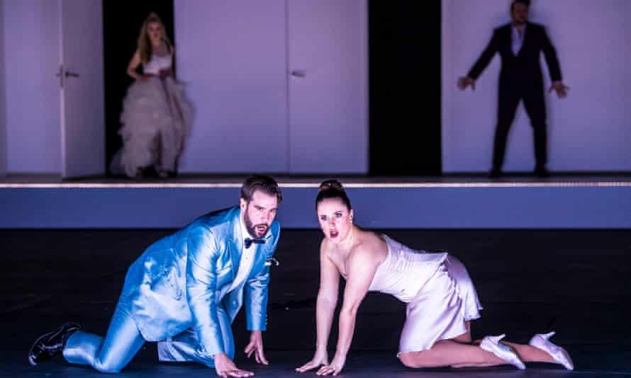 Božidar Smiljanić as Figaro and Louise Alder as Susanna in ENO's The Marriage of Figaro at London Coliseum.