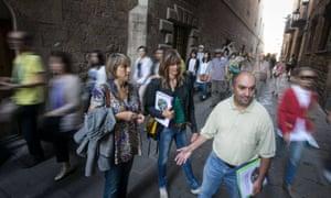 Tourists on a Hidden City Tours trip around Barcelona.