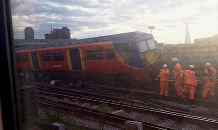 A South West Trains train following a collision with an engineering wagon at Waterloo