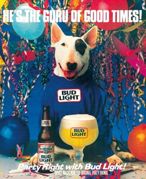 A 1988 ad for Bud Light using their mascot Spuds MacKenzie. The ads were controversial at the time as many believed the dog was being used to appeal to children