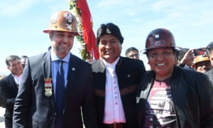 Paraguay's president, Mario Abdo Benítez, with Evo Morales and miners' leader Elias Colque.