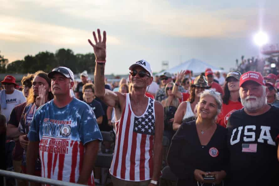Supporters listen to Trump during his first major campaign rally since his loss in the 2020 election.