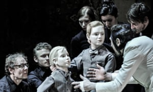 Lars Eidinger menaces the Little Princes puppets in Richard III at the Barbican.