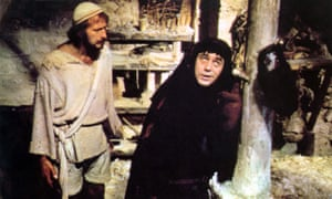Terry Jones as Mandy with Graham Chapman as Brian in Monty Python's The Life of Brian (1979).