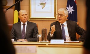 The minister for home affairs, Peter Dutton, with the PM Malcolm Turnbull.