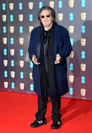 We applaud Al Pacino, who was nominated for supporting actor for his role in The Irishman, for making a concession to the weather and wearing a coat. Top marks also for his sensible shoes in the form of New Balance trainers.