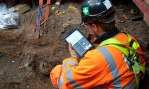 Digital recording of skeletons at St James's gardens burial ground.