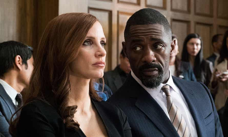 'There's a liveliness missing from her line delivery and while the script keeps reminding us that Bloom is a magnetic figure, Chastain doesn't convince us that such an assertion is true' ... Jessica Chastain and Idris Elba in Molly's Game.