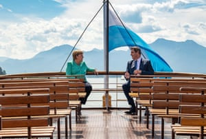 Prien Am Chiemsee, Germany Chancellor Angela Merkel and Bavaria's state premier and leader of the Bavarian Christian Social Union, Markus Söder, take the boat to Herrenchiemsee island near Prien Am Chiemsee in Bavaria