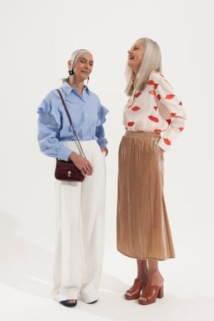 Pam over size long sleeves blue shirt, Zara, wide legged white trousers, Cos, maroon bag Matches, Michele cream and red shirt with lip motif, Victoria, Victoria Beckham, caramel velvet skirt, H&M, brown mules Whistles
