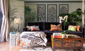 'I am always buying and selling to keep things fresh': painted furniture and clashing patterns work together.