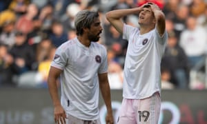 Inter Miami's Robbie Robinson reacts after missing a shot against LAFC