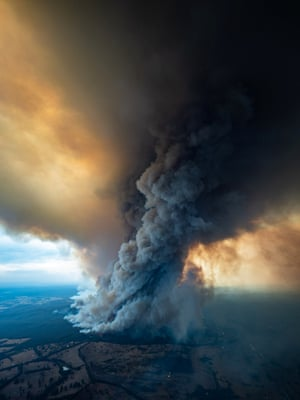 Smoke rises from wildfires burning in East Gippsland, Victoria.