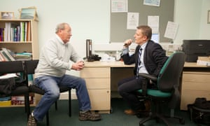 Dr Mike Holmes sees patient Keith Pearson, who has come in to discuss his cough at Gale Farm Surgery in Acomb, York, UK. Tuesday 19 January 2016 **Jess sat in on consultation** #nhsliveblog #thisisthenhs