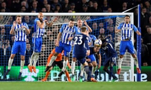 Brighton's Dale Stephens, Bruno Saltor, Shane Duffy, Glenn Murray and Beram Kayal defend a free kick from Tottenham's Christian Eriksen.