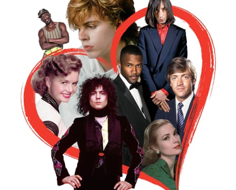 Composite, with red heart, of (clockwise from centre): Marc Bolan, Debbie Reynolds, Mr Motivator, John Taylor, Bobby Gillespie, Richard Madeley, Grace Kelly and Frank Ocean