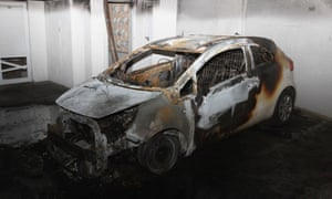 The referee Leontios Trattos's car after it had been set on fire at 2am on 17 March 2015. He was also targeted in February 2014 when a bomb destroyed a car parked outside his home.