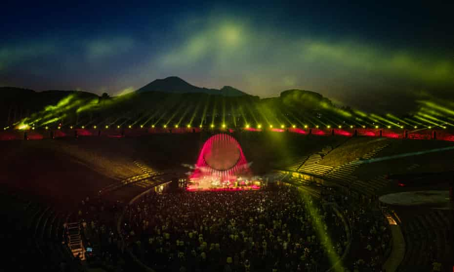 'Beauty and bedazzlement': David Gilmour and band at Pompeii's amphitheatre last week.