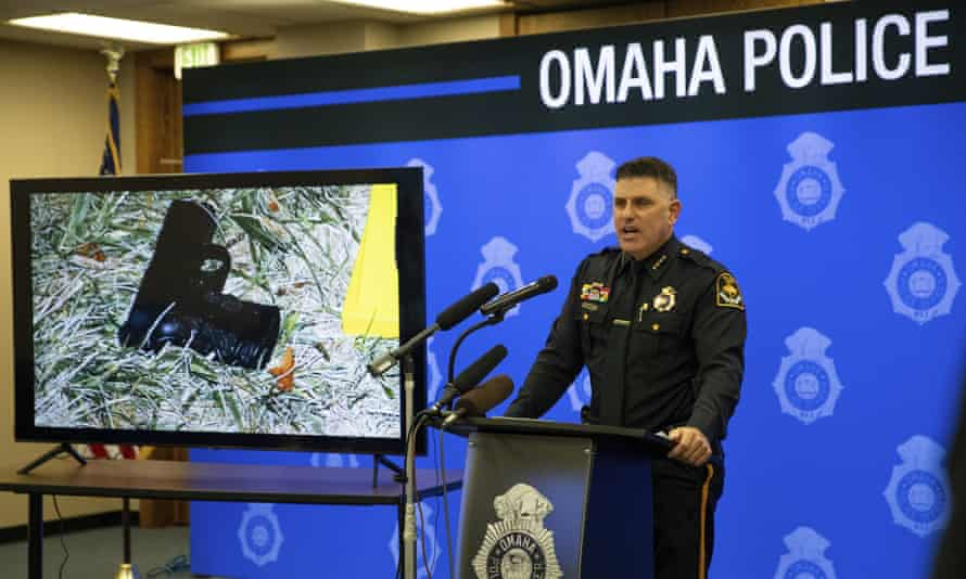 Todd Schmaderer speaks during a news conference Monday in Omaha.