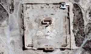 A satellite image shows the site of the Temple of Bel before its apparent destruction in Palmyra
