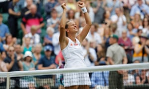 Barbora Strycova savours the moment after reaching her first grand slam semi-final at the age of 33.