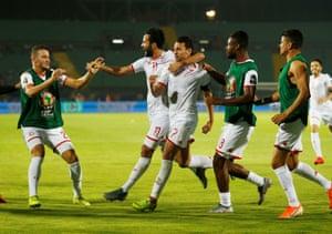 Msakni celebrates scoring Tunisia's second.