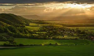 Sunset over Fulking Escarpment in the South Downs National Park.