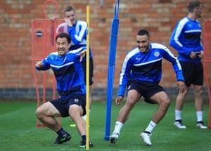 Leicester City's Shinji Okazaki and Danny Simpson in happier times, back in September 2016.