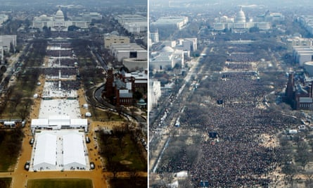 Donald Trump's inauguration crowd, left, and Barack Obama's inauguration crowd.