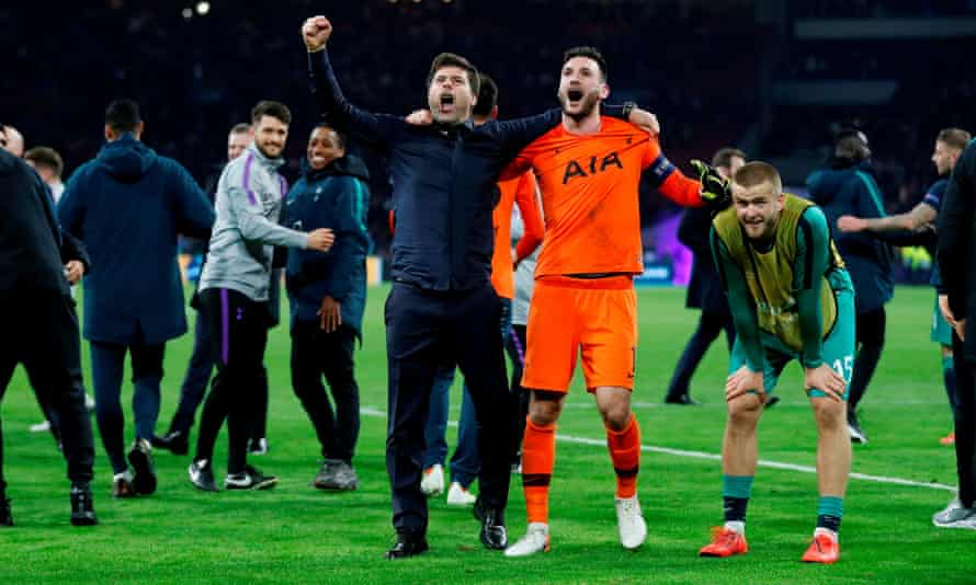Eric Dier (right) struggles to take it all in as Tottenham manager Mauricio Pochettino and captain Hugo Lloris celebrate after the win over Ajax.