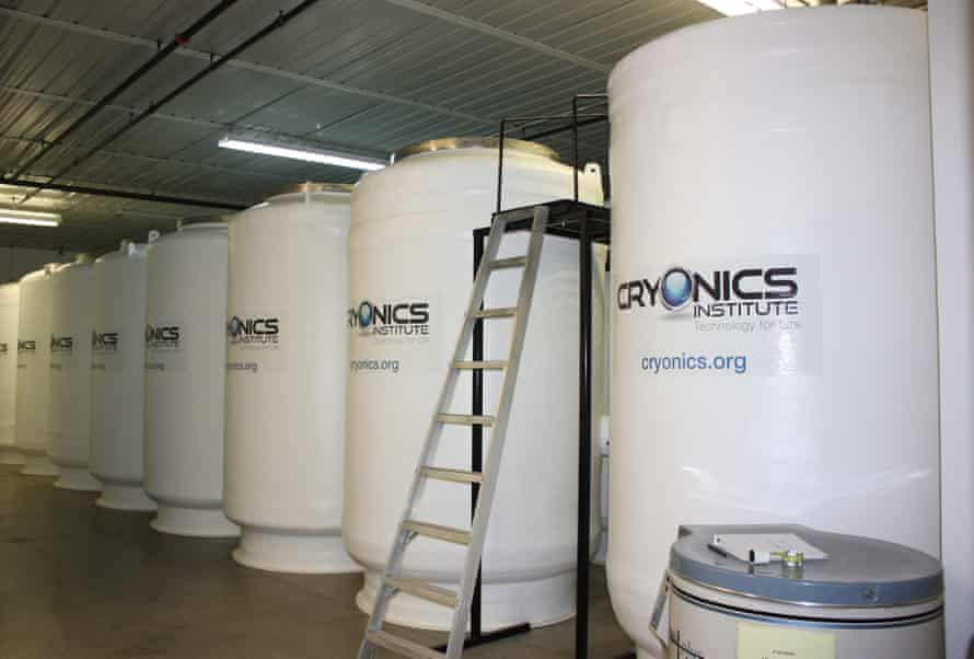 Tanks for patient storage at Cryonics Institute in Clinton Township, Michigan, USA.