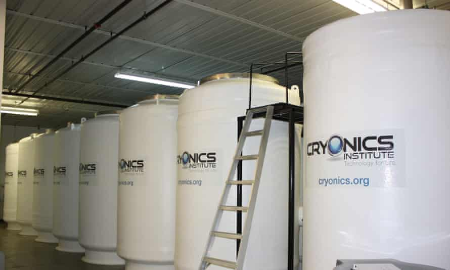 Tanks for long-term patient storage in liquid nitrogen, at Cryonics Institute in Michigan