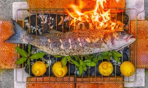 Whole fish barbecued with chilli, fennel and coriander seed, black pepper and bay.