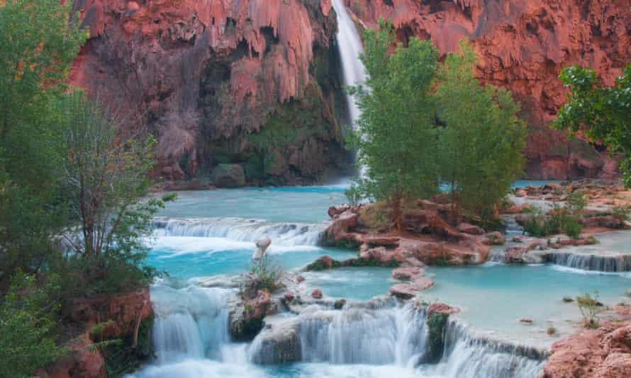 Havasupai Waterfall in Arizona.