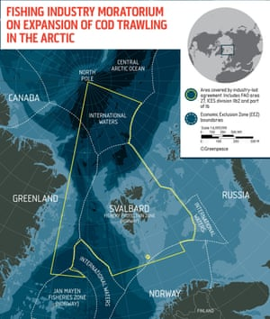 Map of the area of northern Barents Sea including the waters around Svalbard where some of the world's largest seafood and fishing companies have committed not to expand their search for cod into.