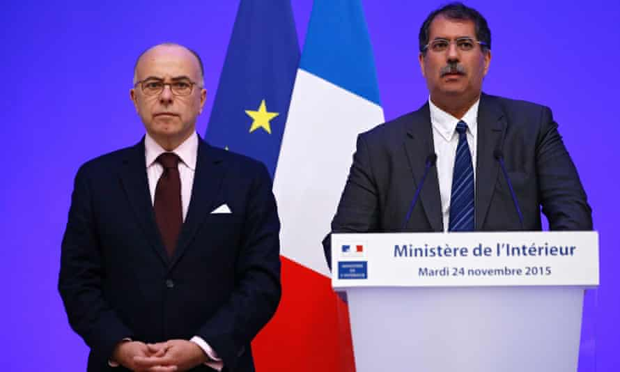 French Interior Minister Bernard Cazeneuve (L) and Anouar Kbibech (R), President of the French Council of the Muslim Faith, announce the 'licence to preach' plan for imams