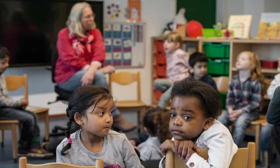 Primary school children during Spring Fever Week in Holland.