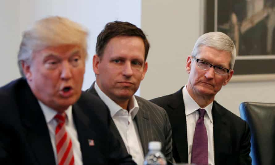 President-elect Donald Trump speaks as PayPal co-founder and Facebook board member Peter Thiel, Apple CEO Tim Cook
