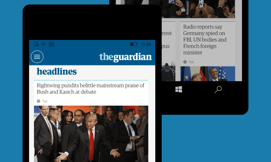 The Guardian app on Windows 10