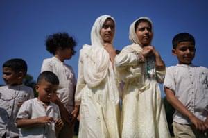 Children at morning prayer during Eid al-Adha, or festival of sacrifice, in Southall Park, Uxbridge
